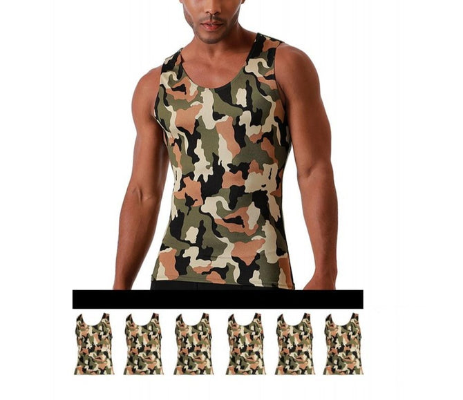 6-Pack I.S.PRO USA Big & Tall Compression Athletic Performance Camouflage Muscle Tank - 3MAT0016BT