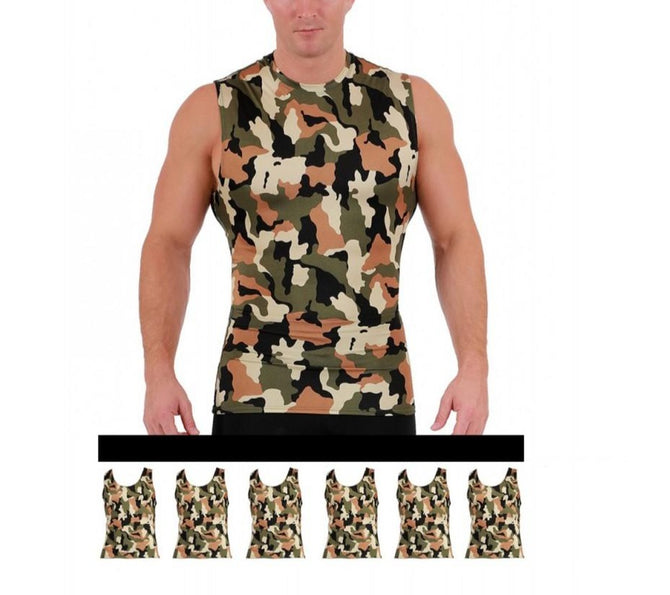 6-Pack I.S.PRO USA Compression High Crew Athletic Camo Print Tank - 3MAT0186