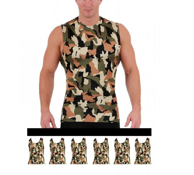 6-Pack I.S.PRO USA Big&Tall Compression High Crew Athletic Camo Print Tank - 3MAT0186BT