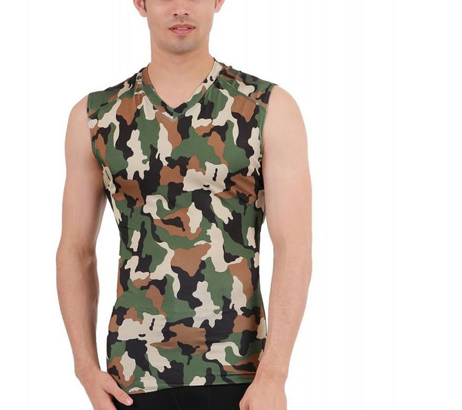 3 Pack I.S.PRO USA Men's Sleeveless High V-neck Compression Camo Shirt 3VAT0133