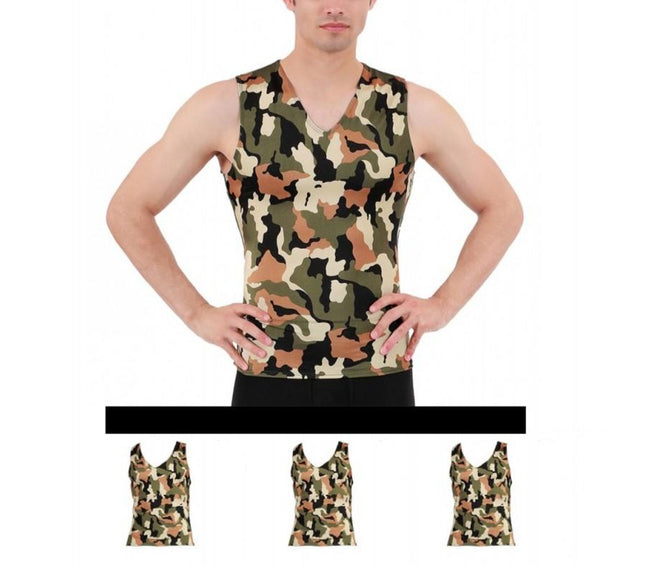 3 Pack I.S.PRO USA Big & Tall Compression Men's Sleeveless V-Neck Camo Print Tank  3VAT0N13BT