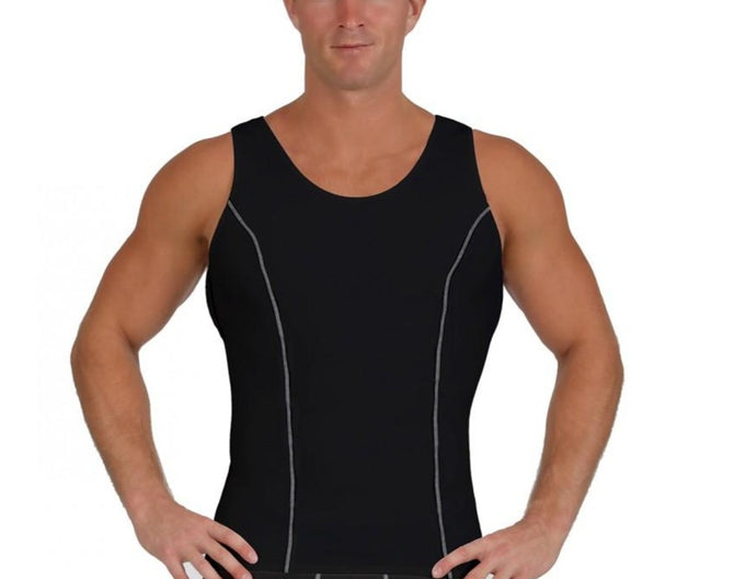 Insta Slim Men's Compression Muscle Tank W/Contrast Stitching MA0221