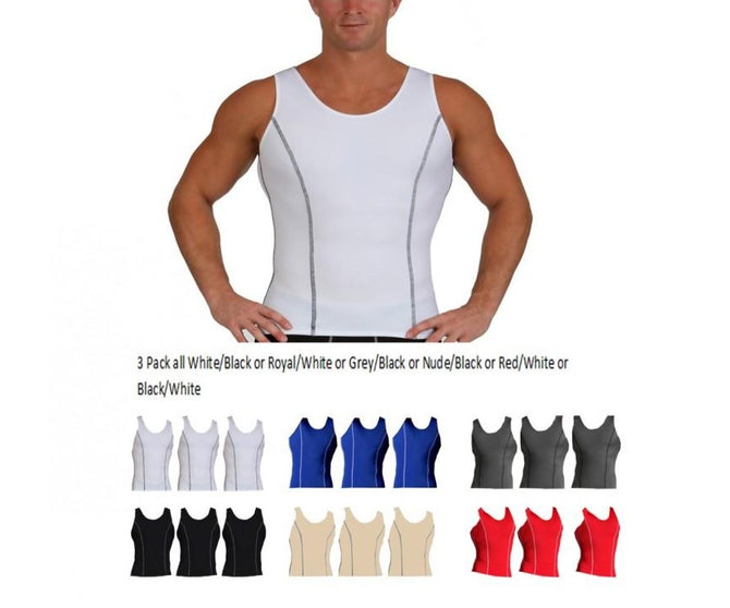 3 Pack Slim Men's Compression Muscle Tank W/Contrast Stitching MA0223