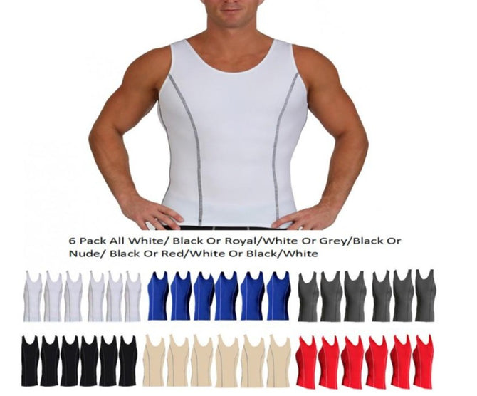 6 Pack Slim Men's Compression  Muscle Tank W/Contrast Stitching MA0226