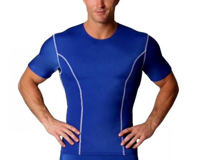 Insta Slim Men's Compression Crew-Neck W/Contrast Stitching TA0221