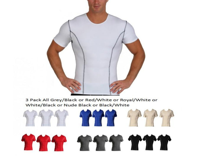 3 Pack Slim Men's Compression Crew-Neck W/Contrast Stitching TA0223