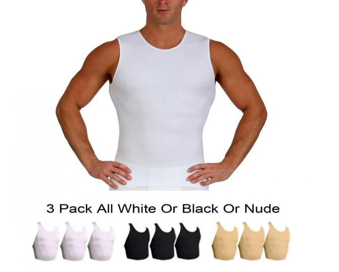 3 Pack  Slim Men's Compression  Sleeveless Crew Neck Tank TS00N3