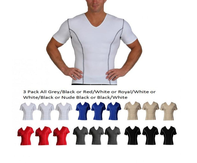 3 Pack Slim Men's Compression V-neck W/Contrast Stitching VA0223