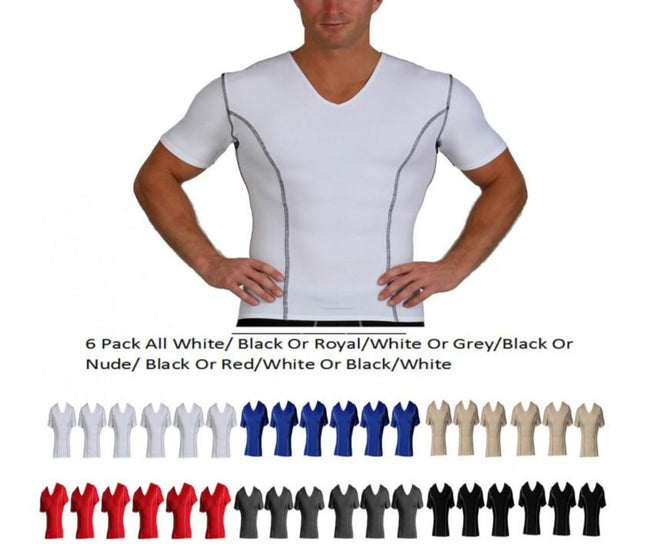 6 Pack Slim Men's Compression  V-neck W/Contrast Stitching VA0226