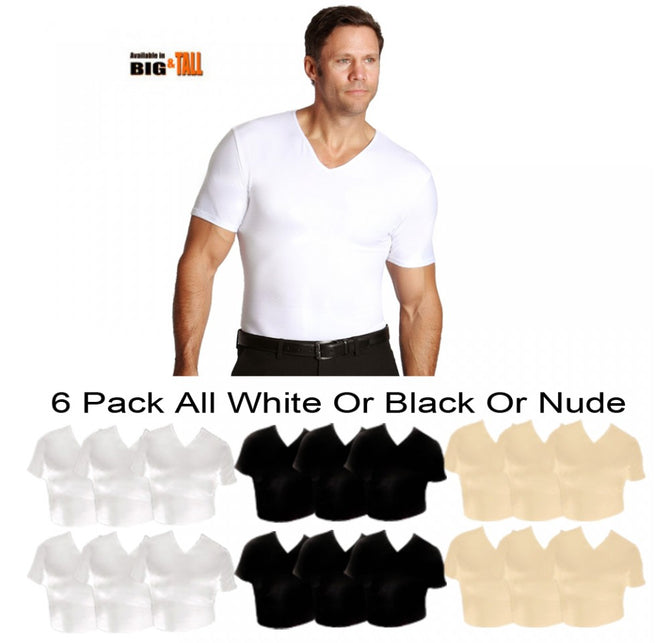 6 -Pack Insta Slim Big&Tall Compression V-Necks VS0006BT