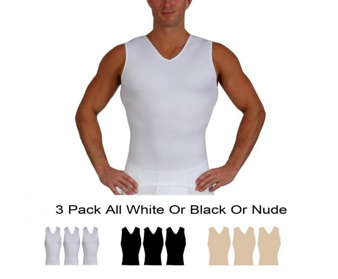 3 Pack  Slim Men's Compression Sleeveless V-Neck Tank VS00N3