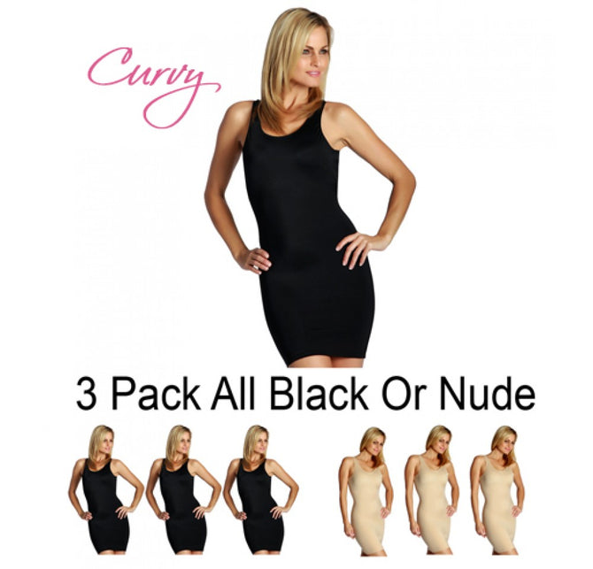 3-Pack Tank Slip Dress Curvy Shapewear WD40033