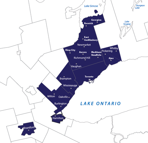 Delivery zone Ontario map