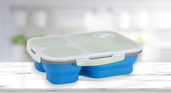 Bento-Style Lunch Container (Blue)
