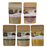 Super Food Powder Set ~ Chomeiso, Turmeric, Black Carrot, Moringa, Getto ~ 30g each - Kenko Root