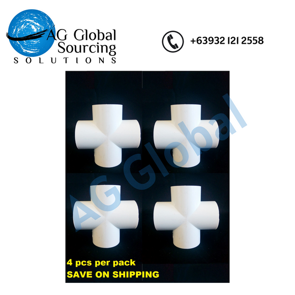 Pipe fitting, White pvc cross 32mm (4pcs per pack)