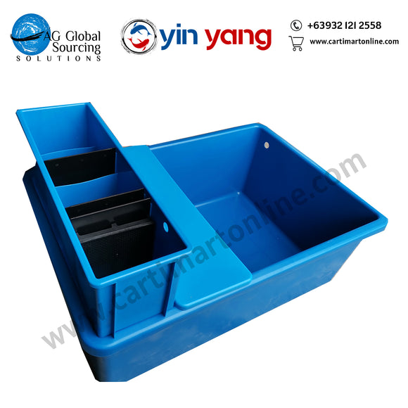 Blue Fish Tub with overhead filter