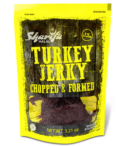 Sharifa Halal Turkey Jerky Chopped & Formed, (1) 3.21 oz. Package – Great Everyday Halal Turkey Jerky Snack, 100 % Real Zabiha Halal Turkey, 19g of Protein, 120 Calories, & 4g of Carbohydrates