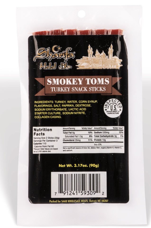 Sharifa Halal Smokey Toms Turkey Snack Sticks, (1) 3.17 oz. Package – Great Everyday Halal Turkey Snack, 100 % Real Zabiha Halal Turkey, 10g of Protein, 110 Calories, & 3g of Carbohydrates