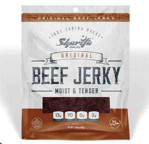 Sharifa Halal Beef Jerky, Original, (1) 2.85 oz. Bag – Great Everyday Halal Jerky Beef Meat Snack, 100 % Real Zabiha Halal Beef, 13g of Protein, 70 Calories, 0g Trans Fat, & 2g of Carbohydrates Brand: SHARIFA HALAL