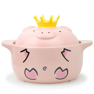 Pink Pig High Temperature Resistance Casserole Handle Ceramic Cooker | RK1361