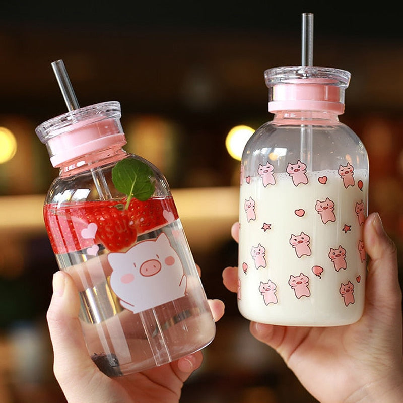 450ML Kawaii Pig Glass Water Bottle | RK1391