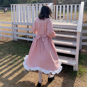 Sweet Lace Pink Vintage Dress rennoya kawaii shop