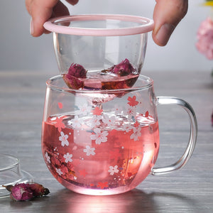 300ml Japanese Glass Cup With Tea Infuser Filter&Lid Cherry Blossoms | RK1426
