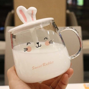 400ml Cute Cartoon Rabbit Ears Glass Mug | RK1407