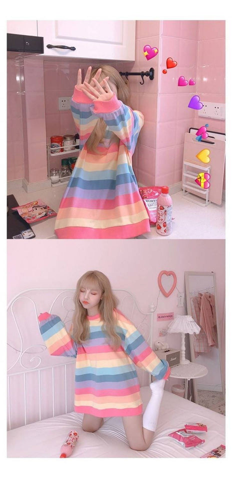 Long Sleeve Rainbow Harajuku Sweatshirt | RK1363