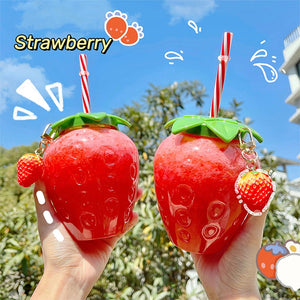 Cute Strawberry Cup With Straw | RK1575