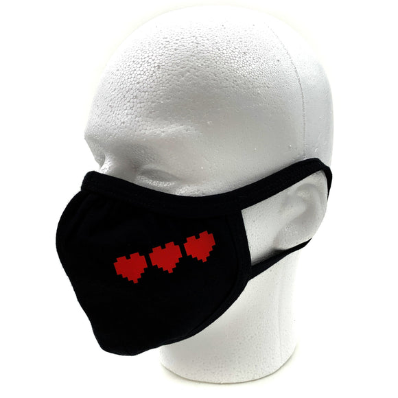 8-Bit Hearts Face Mask