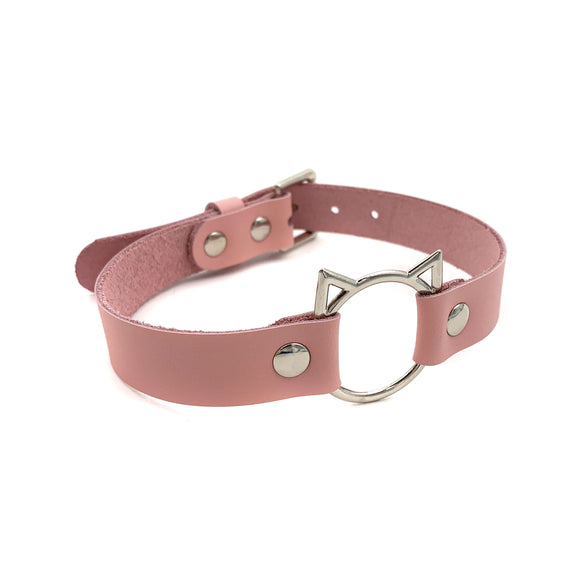 Leather Cat Collar - Baby Pink