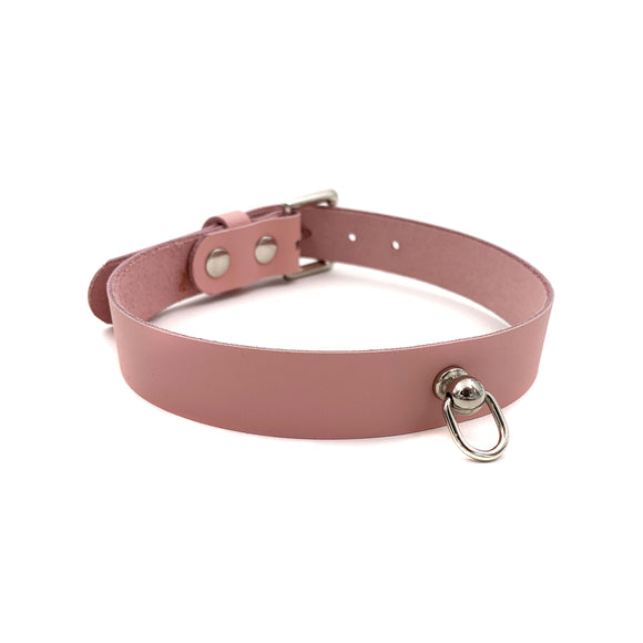 Leather D Ring Kitten Collar - Baby Pink