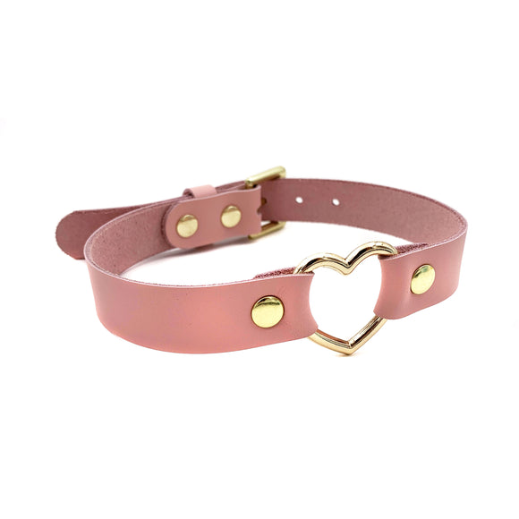 Leather Gold Heart Collar - Baby Pink