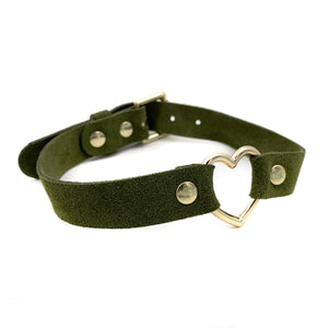 Suede Gold Heart Collar - Green