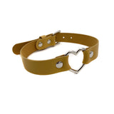 Leather Heart Collar - Gold