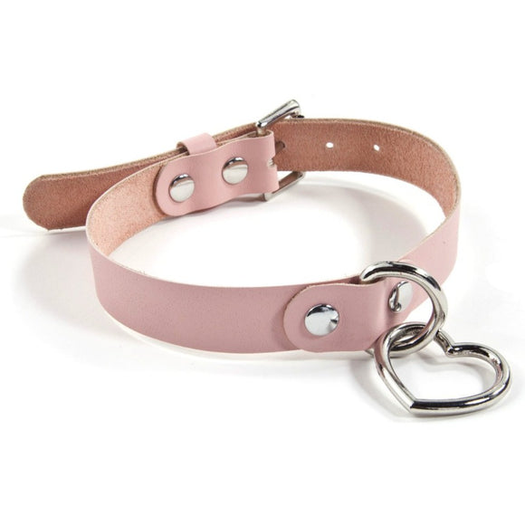 Hanging Heart Collar - Baby Pink