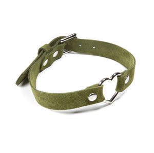 Suede Heart Collar - Green