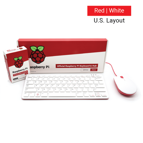 PepperTech Digital Raspberry Pi Official Keyboard and Mouse Value Pack (Red/White - U.S. Layout)