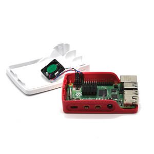 PepperTech Digital Official Raspberry Pi 4 Case and Case Fan Value Pack (Red/White)