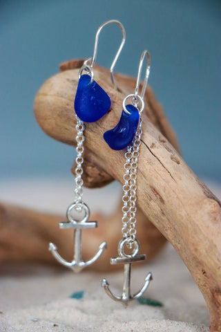 Drop Blue Anchor Earrings