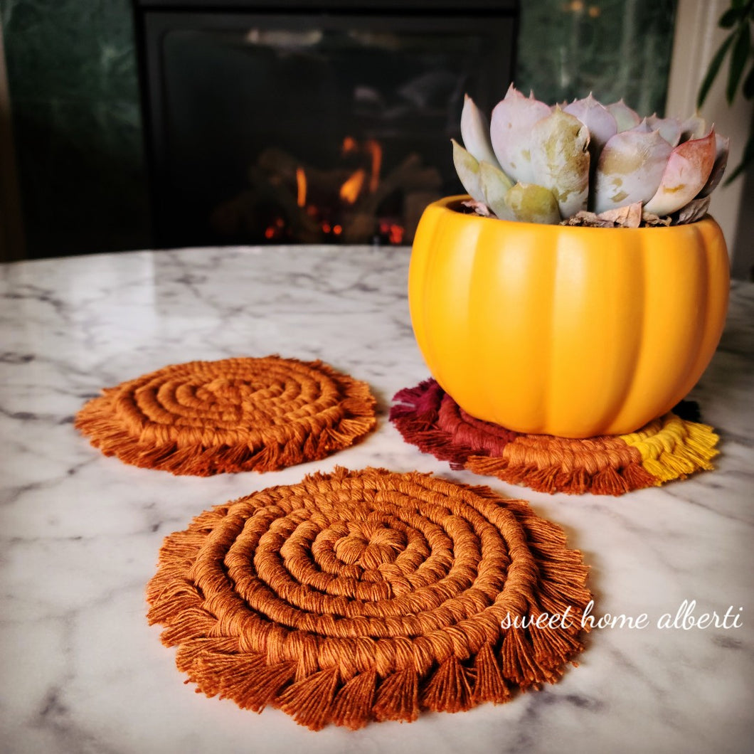Solid Colors - Macrame Coasters Set