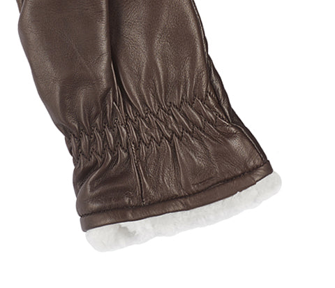 Women's Brown Mocca Leather Mittens
