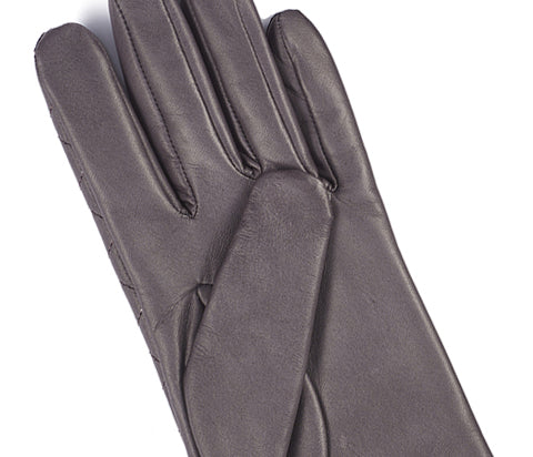 Women's Grey Aniline Quilted Leather Gloves