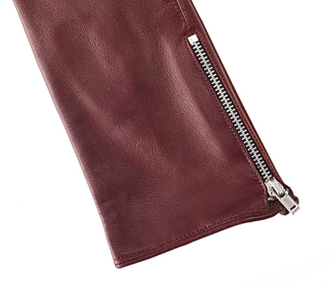 Women's Red Leather Zipped Gloves