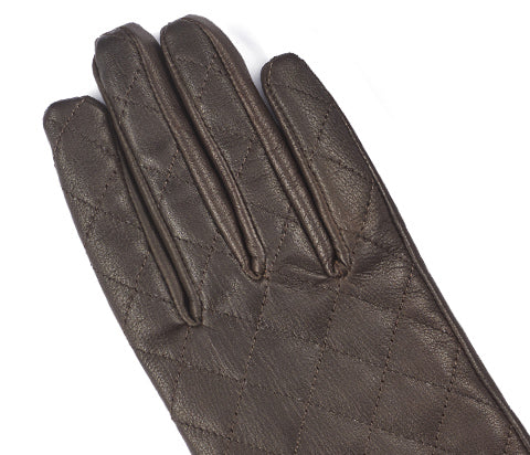 Mocca Women's Aniline Quilted Leather Gloves