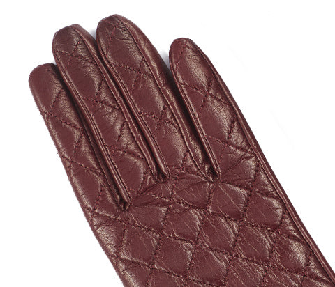 Wine Women's Aniline Quilted Leather Gloves