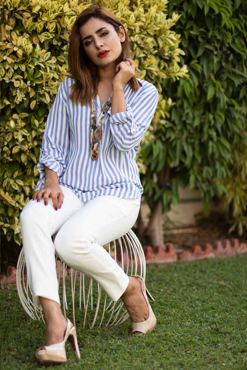 Striped Georgette Tunic