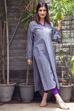 Load image into Gallery viewer, Grey Embroidered Kurti